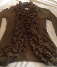 Romeo & Juliet Couture Olive Ruffled Cardigan Worn Once Simply Lovely Size S