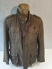 Diesel Mens Field Jacket Herringbone Khaki Brown Epaulets Hidden Hood <P1>