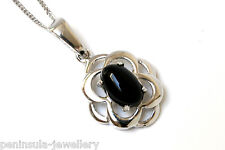 "9ct White Gold Celtic Black Onyx Pendant and 18"" Chain Gift Boxed Necklace"