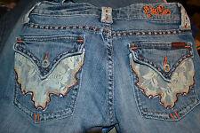 MISS ME Sz 26 St. Louis Jeans Lace Pocket Flap & Loop Trim Lowrise Bootcut Jeans