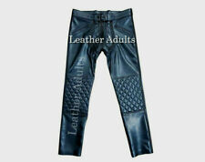 Mens New Cow Leather Quilted Pants Convertible Into Chaps Hot Trousers BLUF Gay