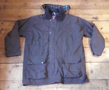 """Jack Daw Quilted Wax 100% Cotton Brown Hooded Coat / Jacket - Medium 49"""" Chest"""