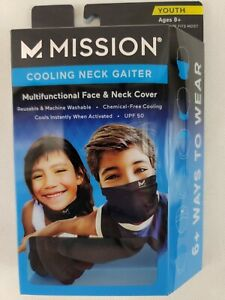 MISSION New Compact Cooling Neck Gaiter Face Cover Mask BLK Youth 8+ Cool Upf50