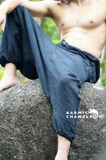 Mens Hemp Harem Pants Hippie Black Yoga Plain Aladdin Martial Arts Festival