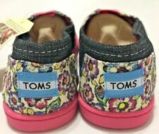 NEW YOUTH TOMS CLASSIC SIZE 5 Y chambray FLORAL cute SLIP ON SHOE pink #B8