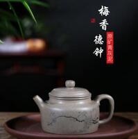 China 100% Yixing ZiSha Pottery gray NI hand carved plum DE ZHONG Teapot 270cc