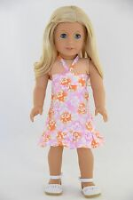 Sundress Pink Orange White American Made Doll Clothes For 18 inch Girls Dolls