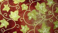 1 Yd Stonehenge Gold Leaf Metallic Sangria Northcott Cotton Fabric 39122M-25