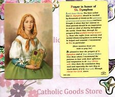 Saint St. Dymphna -Prayer in honor of - Soft Plastic stock Holy Card