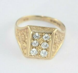 9ct Gold Cz Signet Ring 4g Size P