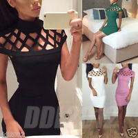 Fashion Womens Choker High Neck Bodycon Ladies Caged Sleeves Party Mini Dress
