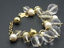 CHIC KATE SPADE CHUNKY GOLD TONE CRYSTAL BRACELET ~ 7.5""