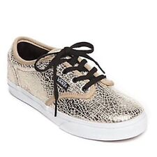 db75d1f3a6e050 Girls VANS Atwood Cracked Leather Gold Trainers Size UK 2 EUR 33