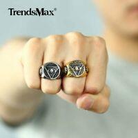 illuminati pyramid/eye symbol 316L Stainless Steel Signet Mens Ring