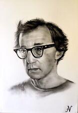 Woody Allen - ritratto portrait grafite e carboncino cm. 33 x 48
