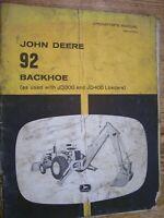 VINTAGE  JOHN DEERE  OPERATORS  MANUAL- MODEL 92  BACKHOE