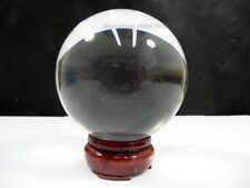 "80mm 3.2"" Crystal Clear Feng Shui Prism Glass Ball Sphere Glove w/ Wood Stand"