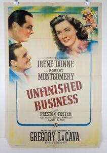 UNFINISHED BUSINESS 1941 ORIGINAL MOVIE POSTER - IRENE DUNNE - ROBERT MONTGOMERY