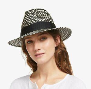 John Lewis & Partners Textured Straw Fedora Sun Hat, adjustable Black Cream