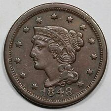 1848 N-5 R-4+ Rare EDS Braided Hair Large Cent Coin 1c