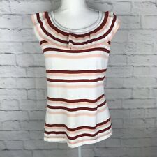 Loft Outlet Women Multi Color Striped Sz Medium Sleeveless Cotton Blend Knit Top