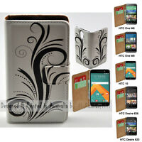 For HTC Series Mobile Phone - Black Swirl Theme Print Wallet Phone Case Cover