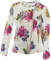 Susan Graver Unlined Stretch Floral Print Pique Jacket Pink Yellow 8 NEW A276437