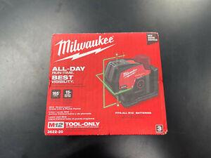 New Milwaukee 3622-20 Green Cross Line & Plumb Points Laser Level Tool Only NIB