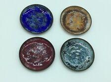 4 (Mcm) Mid Century Modern 1950s 3.5� Enamel On Copper Coasters