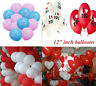 10-100 Heart I L U & Print Balloons Valentines Day Romantic Balon His/Her Gifts