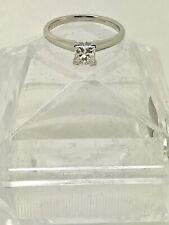 0.72 ct natural diamond solitaire princess cut engagement ring WG, IGI certified