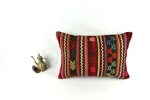 Kilim Lumbar Pillow 16x24 Handmade Vintage Oushak Decorative Cushion Cover 3432