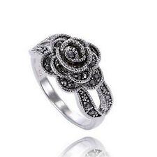 Frauen Retro Rose Blume Ring Schwarz Kristall Vintage Blume Ringe Schmuck