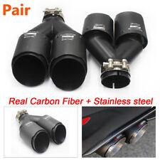"2 X Carbon Fiber Exhaust Tip 2.5"" Inlet Dual Pipe Muffler Trim With Logo"