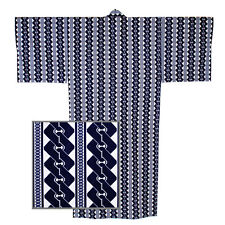 "Japanese Kimono Yukata Men's  58""L Navy Blue Chain Pattern/ MADE JAPAN"
