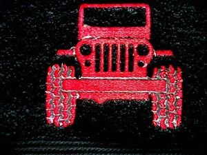 JEEP DESIGN, EMBROIDERED HAND TOWEL, BLACK TOWEL, RED JEEP