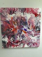 Abstract contemporary Acrylic fluid Art Painting 14x14 stretched canvas wallart
