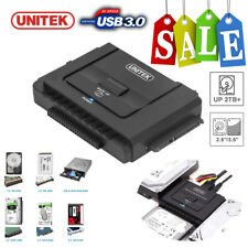 "Unitek USB 3.0 to 2.5"" 3.5"" 5.25"" in SATA IDE Hard Drive Adapter Converter Clone"