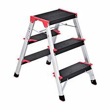 3 Step Aluminum Lightweight Ladder Folding Non-Slip Platform Stool 330Lbs Load