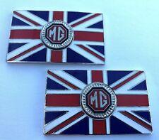 Paar MG Union Jack GB Metall Oldtimer Kennzeichen Rot + Schwarz - Selbstklebend