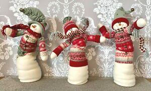 "Costco Set Of 3 21"" Posable Decorative Snowmen Bendable Christmas Decorations"