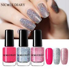 NICOLE DIARY 3Bottles 6ml Glitter Nail Polish Holographicss Pink Silver Nail Art
