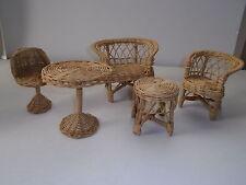 Cutest Wicker Dollhouse Furniture Sofa,Love seat, Bar Height Bistro Chair &Table