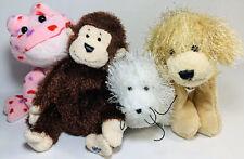 Lot Of 4 Ganz Webkinz Plush Toys - Golden Dog, White Seal, Monkey, Love Frog