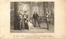 1840 Incisione George Cruikshank-SIR Thoma WYAT dettando condizioni a Queen Mary