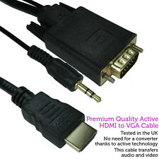 1m HDMI to VGA & 3.5mm Monitor Converter Cable – Male PC/TV Audio Video Adapter