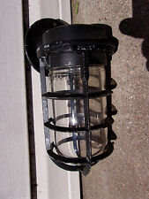 Vintage Adalet EXPLOSION PROOF INDUSTRIAL CAGE LIGHT STEAMPUNK GLASS GLOBE LAMP