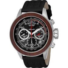 Invicta 23066 S1 Rally Quartz Chronograph Black Leather Strap Mens Watch
