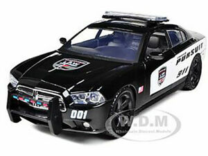 2011 DODGE CHARGER PURSUIT POLICE BLACK & WHITE 1/24 DIECAST CAR MOTORMAX 76930