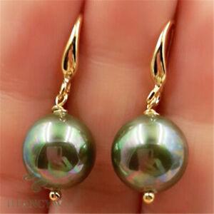 12mm Green Shell Pearl Earrings 18k Ear Drop Women Aurora Cultured Accessories